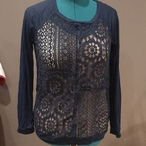 NWT navy shirt/lace front (285)